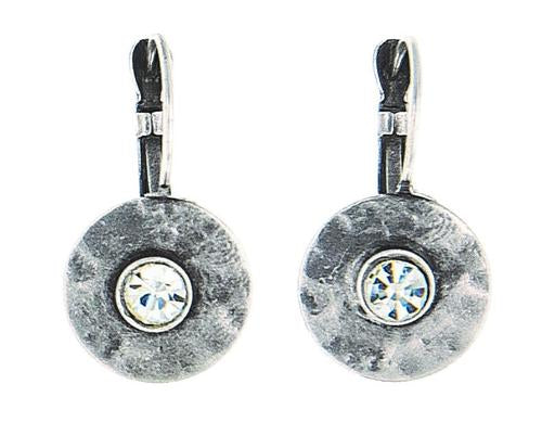 Metal Disc with Crystal Earrings