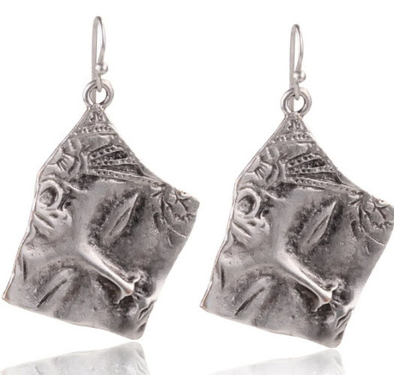 Silver Half Face Earrings