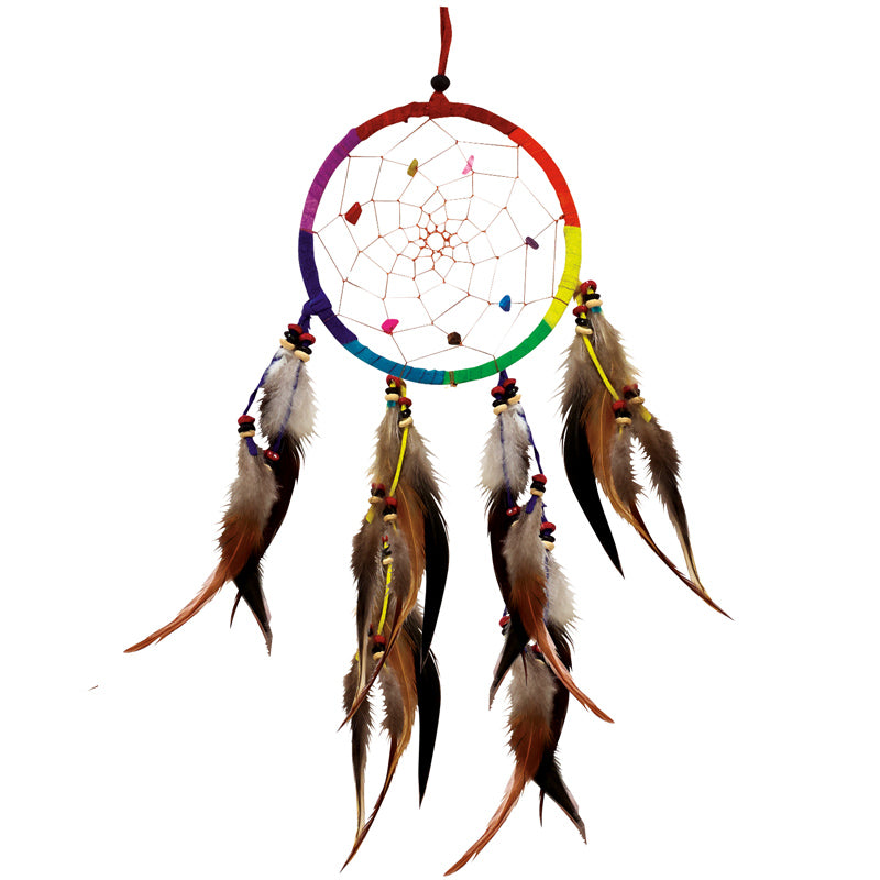 Single Rainbow Dreamcatcher w/ Crystals