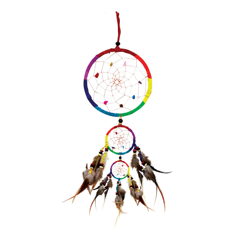 Rainbow Triple Dreamcatcher - 4.5""