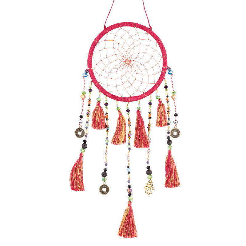 Eleven Strand Red Beaded Dreamcatcher