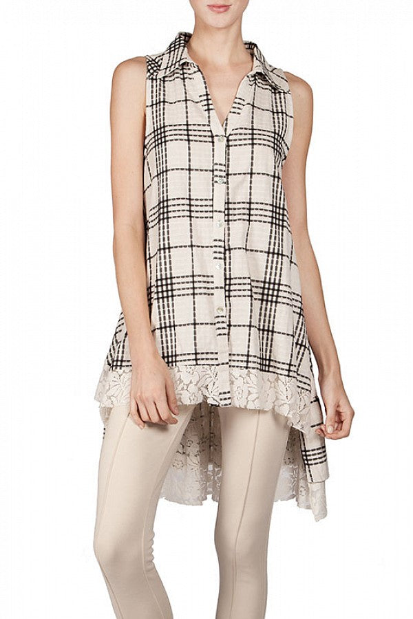 Checkered Hi-Lo Shirt w/Lace