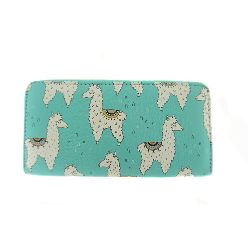 Llama Print on Blue Vinyl Clutch Wallet
