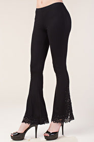 Bell Bottom Pants with Lacey Crochet & Stones