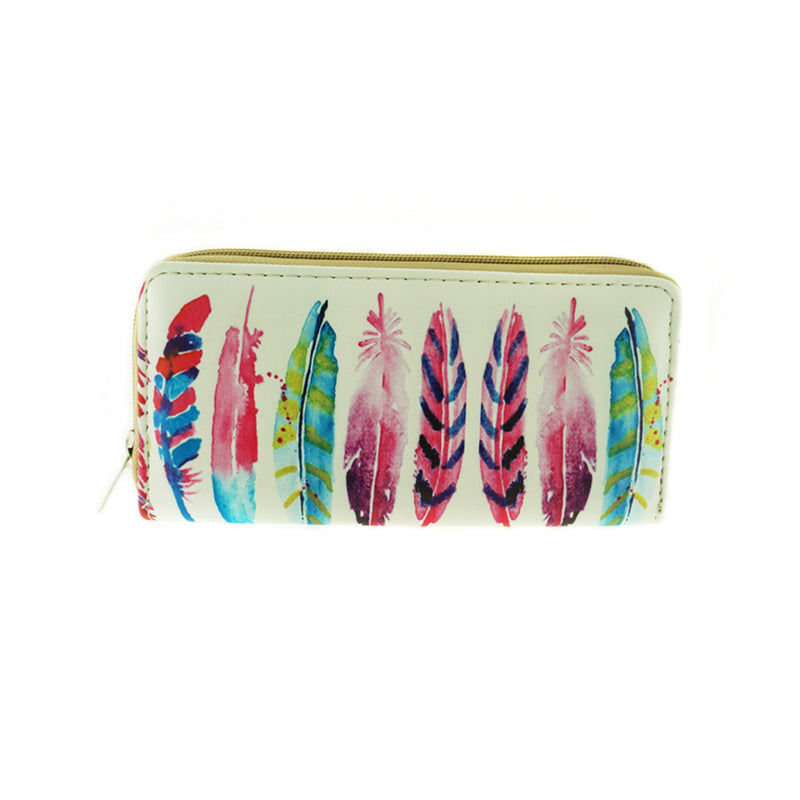 Feather Print Double Sided Wallet