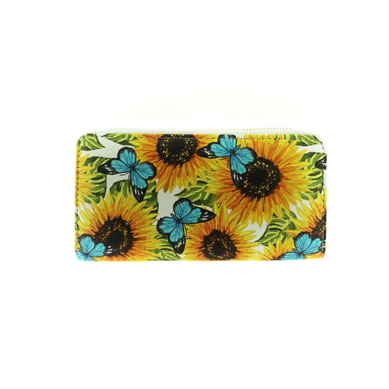 Butterfly and Sun Flowers Print Wallet