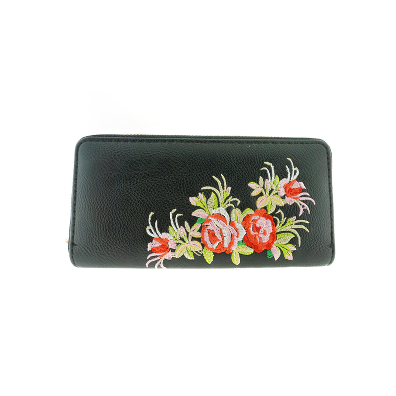 Metallic Vinyl Clutch Wallet with Flower Embroidery
