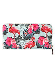 Tropical Hibiscus Flamingo Wallet