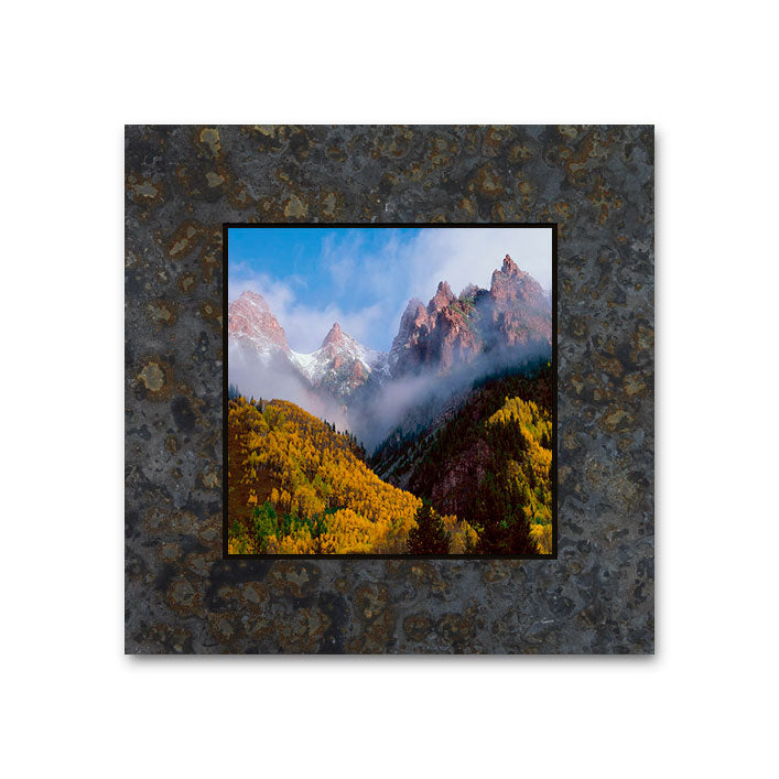 Fog and Mountains, Near Maroon Bells 4x4 Slate Coaster