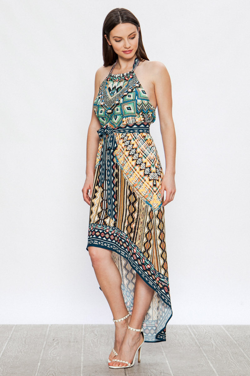 JTom Hi-Lo Mix Print Dress