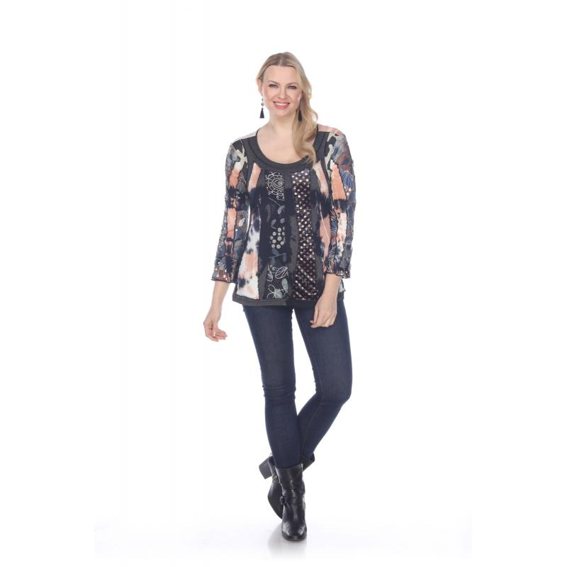 Round Neck Fashion Patchwork Top