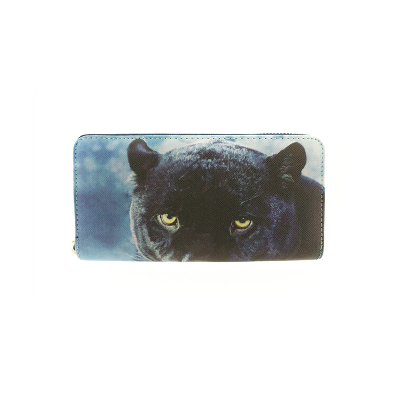 Black Puma Print Vinyl Clutch Wallet