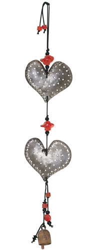 Double Dotted Hearts Iron Chime with Beads and Bell