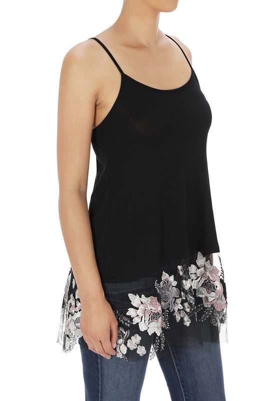 Flower Lace Trim Cami