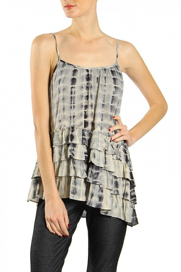 Tie Dye Top w/Ruffled Hem