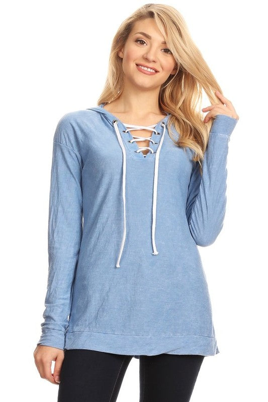 TParty Lace Up Neck Hoodie
