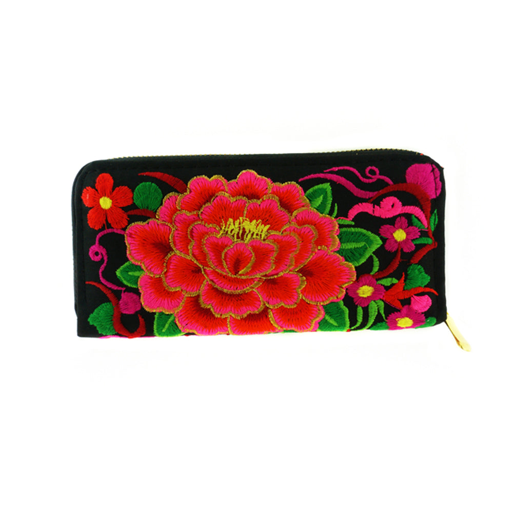Single Rose Double Sided Embroidered Fabric Clutch Wallet