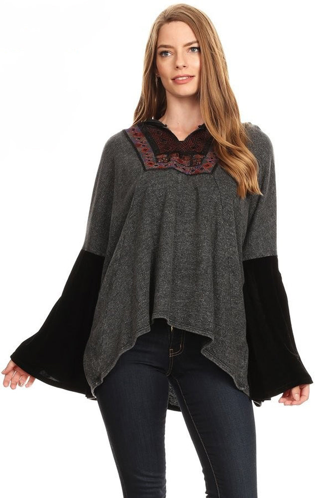 Jacquard Patch Trimmed Bell Sleeve Top