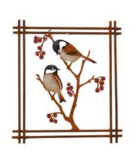 Wall Art - Painted Chickadees & Berries