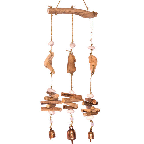 Wood and Three String Mobile with Beads and Bell