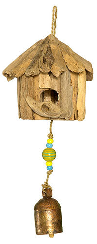 Mini Wood Birdhouse with Beads and Bell
