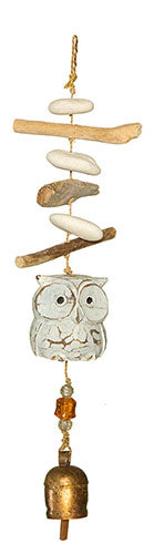 Driftwood Night Owl Chime with Beads and Bell
