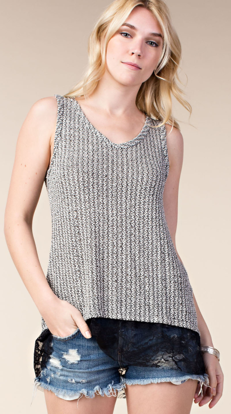 Tank Top with Lace & Stone
