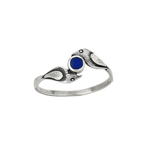 Tiger Mountain Birds Clutching Lapis Ring