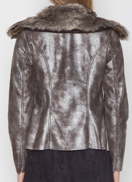 Metallic Jacket with Faux Fur Collar