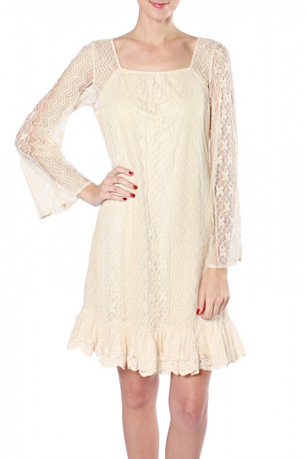 Lace Bell Slv. Dress