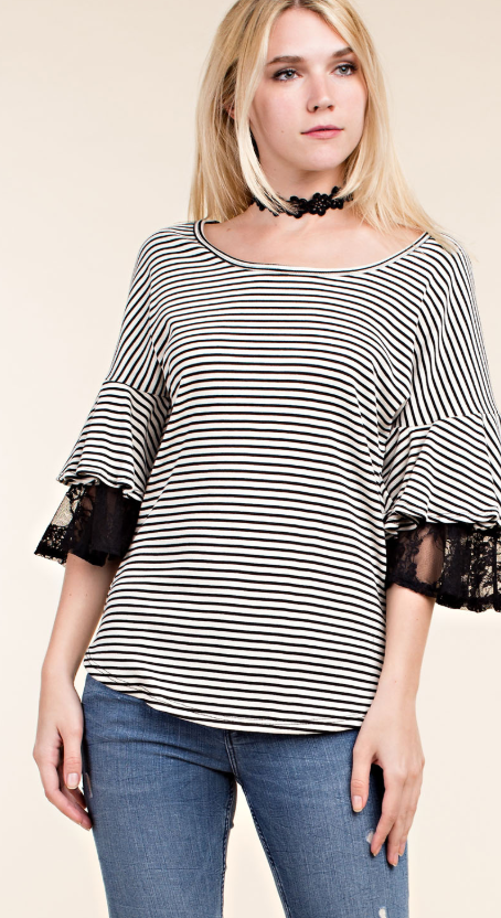 Striped Short Sleeve Top with Ruffle Detail