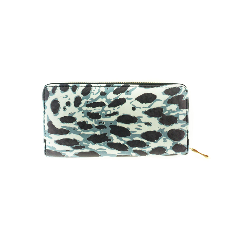 Animal Print Vinyl Clutch Wallet
