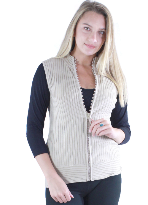 Crystal Zipper Sweater Vest