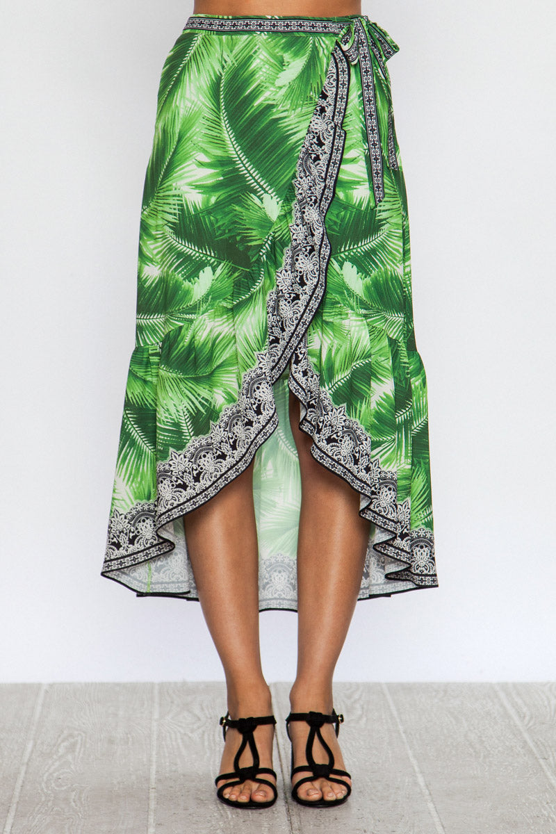 JTom Tropical Print Wrap Skirt - ON SALE!