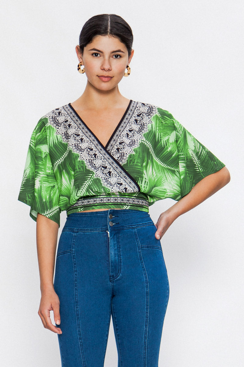 JTom Tropical Print Surplice Top - ON SALE!!