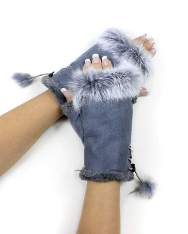 Faux Fur/Leather Fingerless Gloves