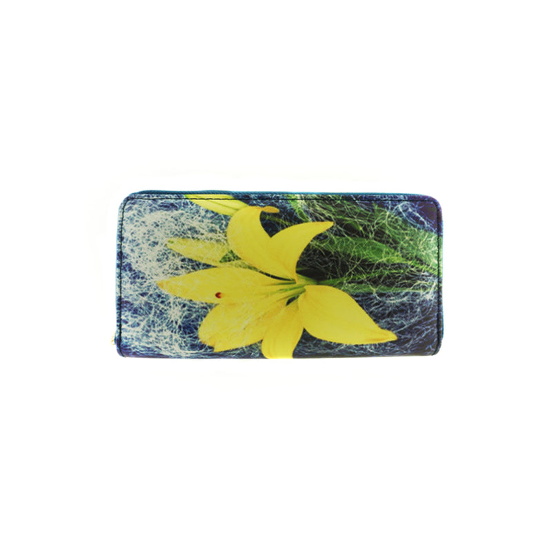 Yellow Lily Print Vinyl Clutch Wallet