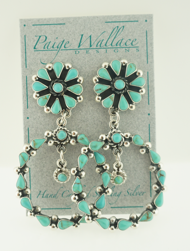 Turquoise Flower Sterling Silver Post Earrings