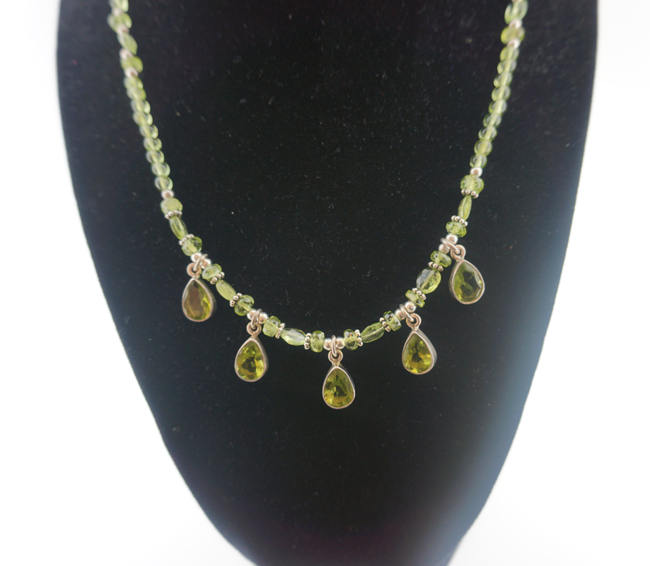 Peridot 5 Dangle Pendant Necklace