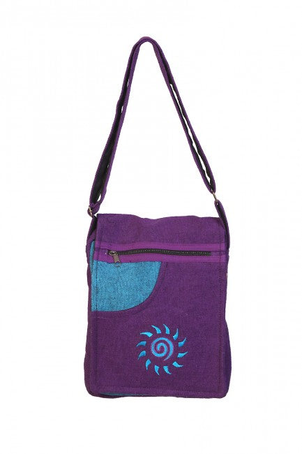 Himalaya Handmade Crossbody Cotton Bag with Sun Embroidery