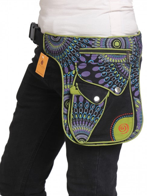 Himalaya Handmade Multi-Pocket Floral and Geometric Cotton Hip Pack