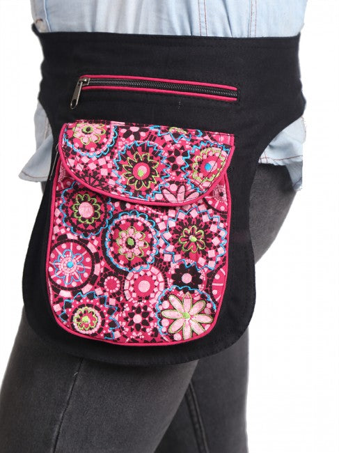 Himalaya Handmade Flower and Mandala Print Cotton Hip Pack