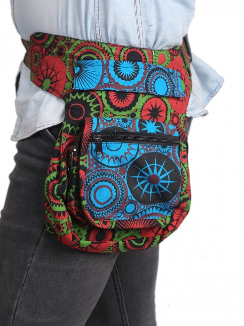 Himalaya Handmade Psychedelic Gear Print Cotton Hip Pack