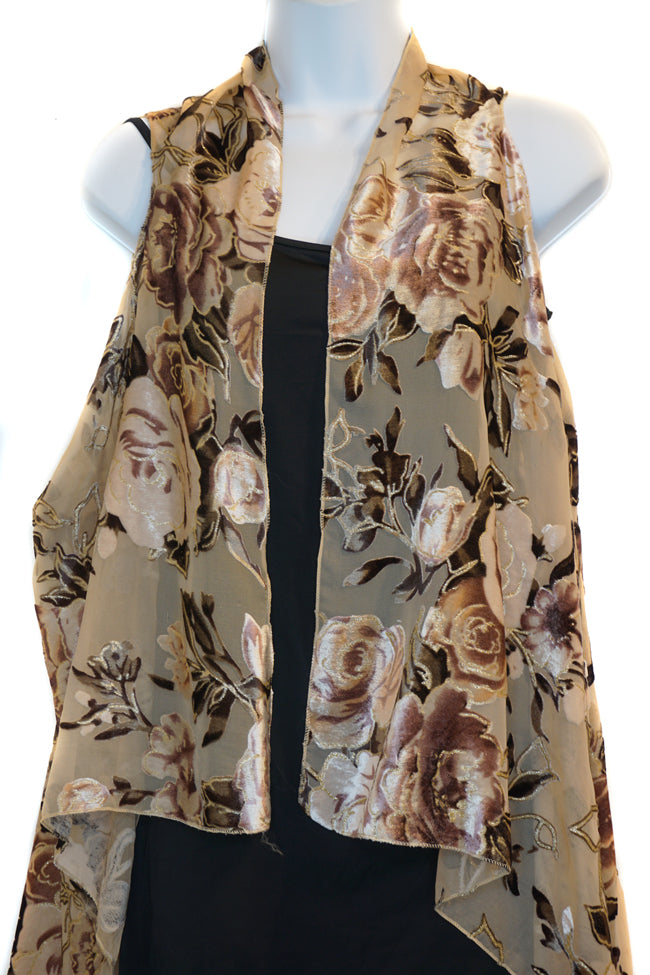 Burnout Velvet Rose Scarf Vest