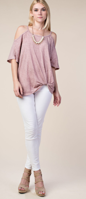 Cold Shoulder Knotted Top