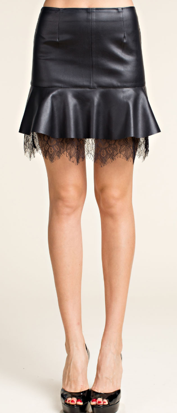 Leather Skirt with Lace Trim