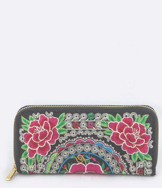 Tibetan Embroidery Rose Wallet