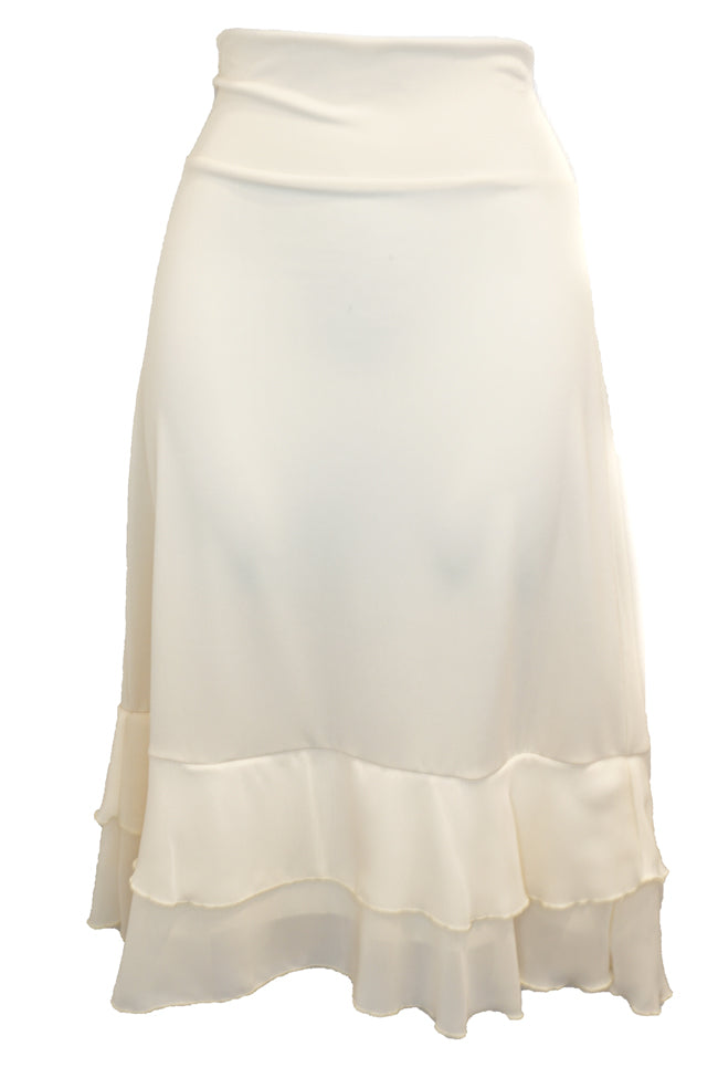 Below the Knee Skirt Slip with Chiffon Ruffled Hemline