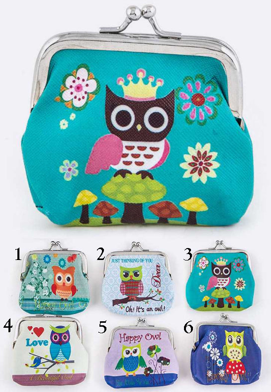 Comic Owl Coin Purses