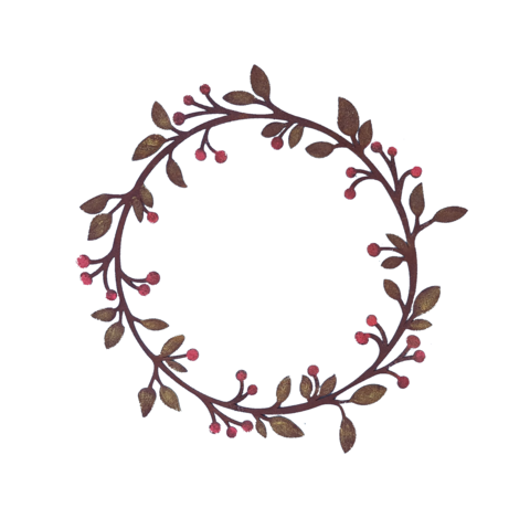 Large Painted Leaf & Berry Wreath